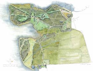 Akvarelleret plan af den romantiske landskabshave ved Næsseslottet