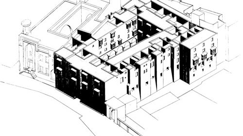 Isometric drawing of the Wekala Bazara